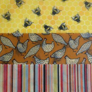 Maxi Trio - Chickens, bees & stripes