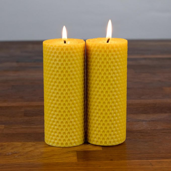 Small beeswax pillar candle