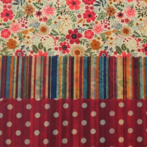 Mini Trio - Red floral & stripes