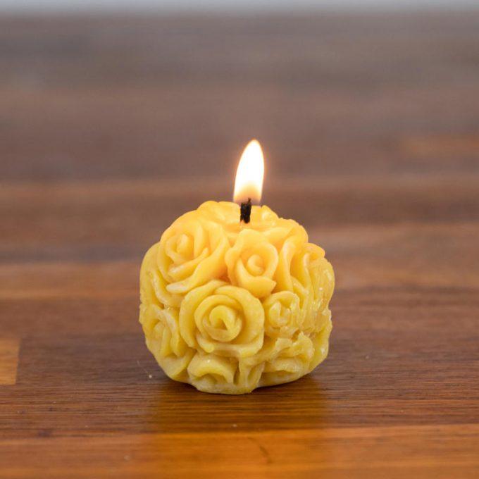 Handmade beeswax mini rose candles
