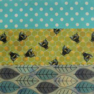Medium Kitchen - Yellow bees & blue leaves